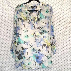 Apt 9 Floral 3/4 Tab Sleeve V Neck Sheer Blouse